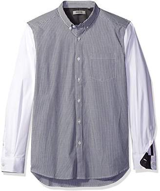 Kenneth Cole Reaction Men's Long Sleeve Button Down Collar Contrast Stripe Body