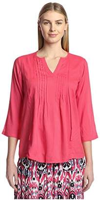 James & Erin Women's Pleated Solid Peasant Top