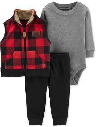 Carter's Baby Boys 3-Pc. Buffalo-Check Vest, Bodysuit & Pants Set
