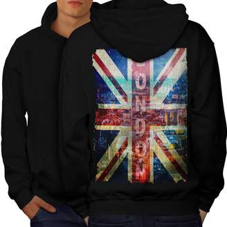 Wellcoda London England Art Mens Hoodie, UK Flag Printed on The Back Side M