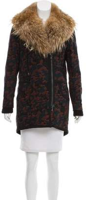 Veronica Beard Fur-Trimmed Jacquard Coat