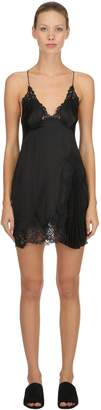 Ermanno Scervino Silk Satin & Macramé Babydoll Dress