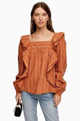 Topshop TALL Rust Stripe Ruffle Blouse