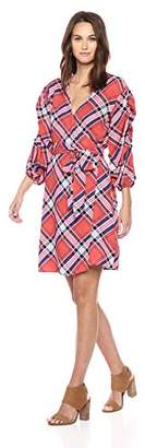 Ella Moon Women's Paulina Multi Tucked Volume Sleeve Wrap Dress