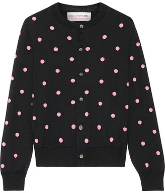 Comme des Garçons GIRL - Intarsia Wool-blend Cardigan - Black $575 thestylecure.com