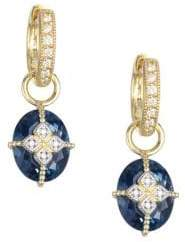 Jude Frances Oval London Blue Topaz, Diamond& 18K Yellow Gold Earring Charms