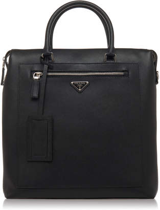 Prada Black Leather Tote With External Zip Pocket