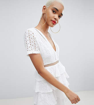 PrettyLittleThing Broderie Anglaise Tiered Dress