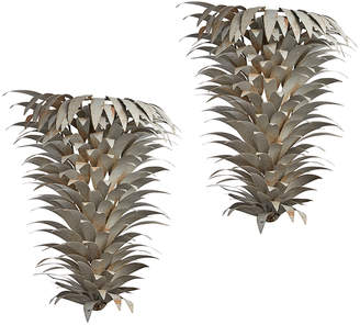 Rejuvenation Pair of Large Rustic Silver Tropical Sconces