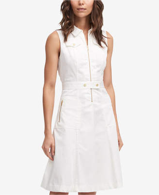 DKNY Sleeveless Zip-Front Fit & Flare Dress