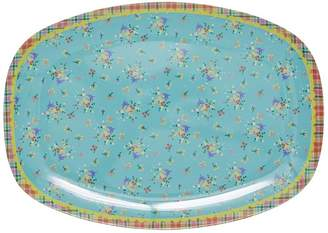 Frolic and Cheer Aqua Vintage Flower Melamine Plate