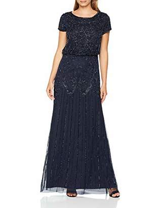 Adrianna Papell Women's Short Sleeve Beaded Gown