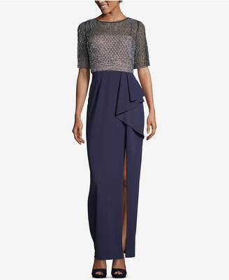 Xscape Evenings Beaded Ruffle-Skirt Evening Gown