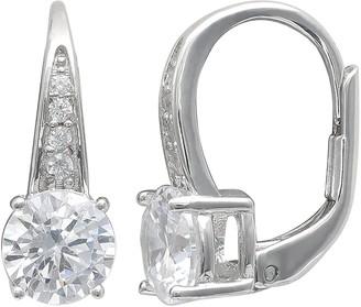 Primrose PRIMROSE Sterling Silver Cubic Zirconia Leverback Earrings