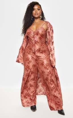 PrettyLittleThing Plus Chocolate Brown Burnout Velvet Maxi Kimono