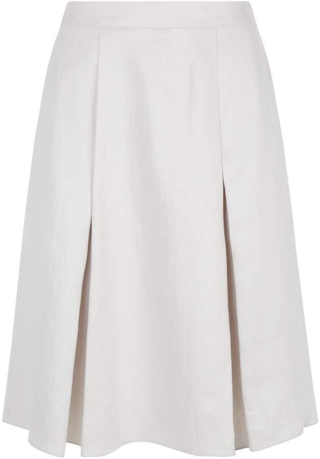 Armani Collezioni Pleated Linen A-Line Skirt, Grey, UK 14