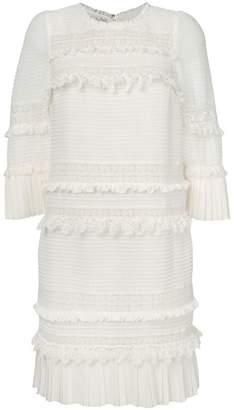 Edward Achour Paris 3/4 sleeve ruffled dress