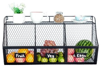 K-Cliffs 3 Compartment Kitchen Basket Large Wall Mount Metal Storage Hanging Fruit Organizer Produce Wire Baskets Rack Bin Black