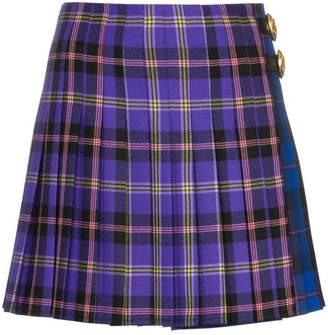Versace check print pleated wool kilt skirt