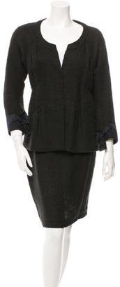 Vera Wang Tweed Grosgrain-Trimmed Skirt Suit $85 thestylecure.com