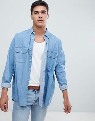 Asos Design Oversized Denim Shirt With Double Pockets
