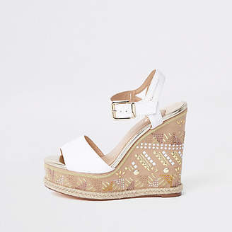 River Island White embellished espadrille wedge sandals