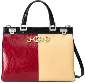 Gucci Medium Zumi Bicolor Genuine Snakeskin Top Handle Leather Bag