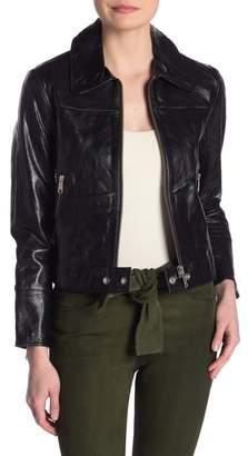 Frame Buckle Back Leather Jacket
