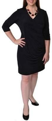 24/7 Comfort Apparel Women's Plus Size Solid 3/4 Sleeve Faux Wrap Dress