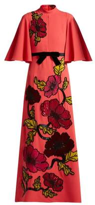 Andrew Gn Floral Embroidered Crepe Gown - Womens - Coral