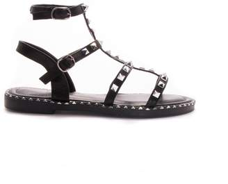 d6b24ca506c3 at Missy Empire · Missy Empire Missyempire Nelly Black Studded Strappy Flat  Sandals