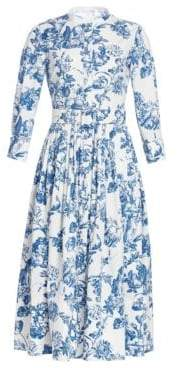 Oscar de la Renta Three-Quarter Sleeve Toile Shirtdress