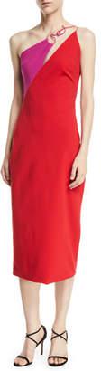 CUSHNIE Sleeveless Two-Tone Sheath Midi Dress w/ Twisted Hardware