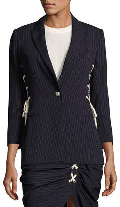 Contemporary Designer Taylor Striped Lace-Up Side Blazer, Navy