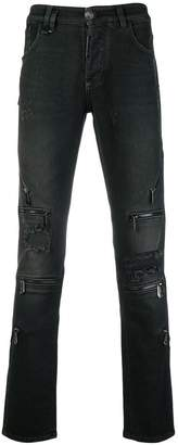 Philipp Plein zip detailed skinny jeans