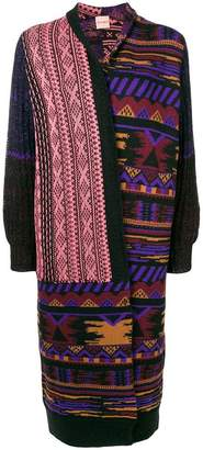 Nude ethnic pattern long cardigan