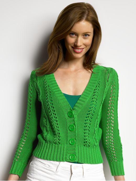 Cotton pointelle cardigan - Finger paint green