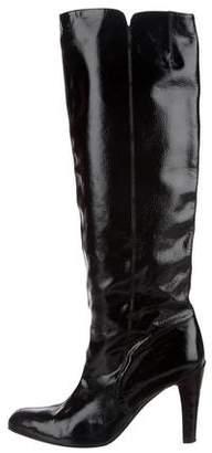 Salvatore Ferragamo Leather Round-Toe Knee-High Boots