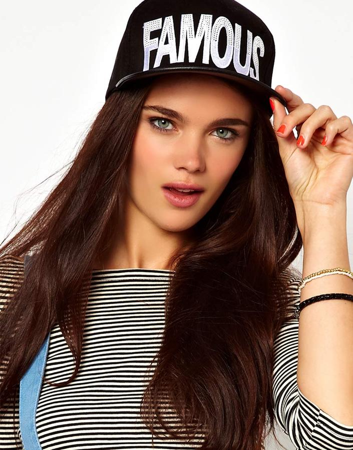 River Island Black And White Famous Cap