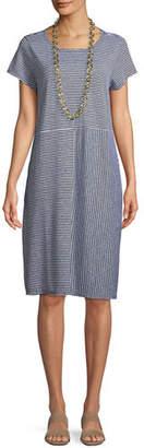 Eileen Fisher Short-Sleeve Striped Organic Linen Jersey Dress, Petite