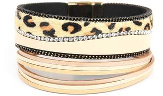 Riah Fashion Leopard-With-Rhinestone-And-Chain Wrap-Bracelet