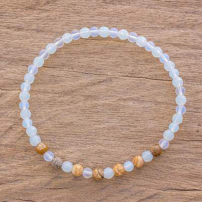 Kiss of the Moon Moonstone and Jasper Beaded Stretch Bracelet from Guatemala