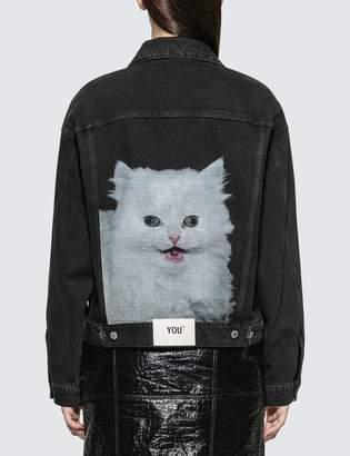 MSGM Cat Print Denim Jacket