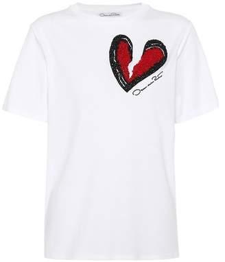 Oscar de la Renta Embellished cotton-blend T-shirt
