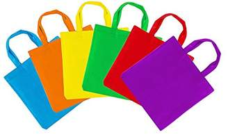 Assorted Colorful Solid Blank Canvas Party Gift Tote Bags Rainbow Colors with Handles for Birthday Favors