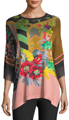 Etro Pillar-Print Knit Tunic w/ Fringe Sleeves