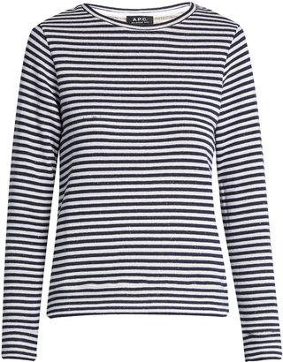 A.P.C. Long-sleeved striped cotton top $104 thestylecure.com