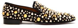 Christian Louboutin Dandelion Spikes Suede Loafers - Mens - Black