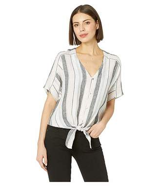 Vince Camuto Extend Shoulder Button Down Tie Front Sorbet Stripe Tee