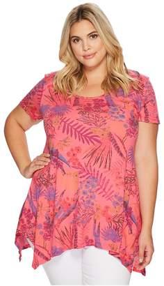Extra Fresh by Fresh Produce Plus Size Bright Botanical Vintage Drape Tee Women's T Shirt